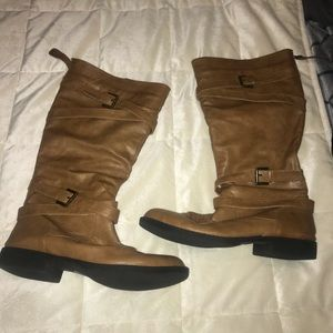 👢Deb tan calf high boots with buckles 👢 size 9W